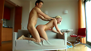 Evil Angel, Czech, Hot Fucking, Hot Babe, Riming, Blonde, Blowjob, Sofa, Doggy Style, Blondes