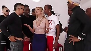 Cherie Deville Blowjob To A Group Of Black Guy