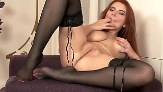 A Redhead With Natural Tits Massages Her Wet And Sexy Pussy Lips