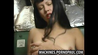 Tight Brunette Fucked By Machine