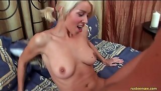 Bleach Blonde In Pigtails Fucked In Teen Cunt