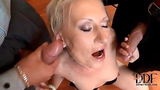 Small Bukkake Scene With Cocksucking Blonde