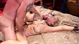 Kinky Dude Makes Two Tied Up Whores Stretch Each Other Twat And Suck His Cock