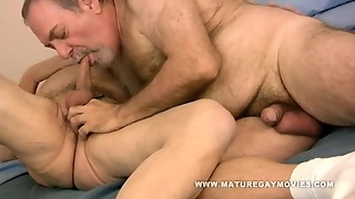 Chubby Hairy Daddy Bareback His Mature Friends Ass