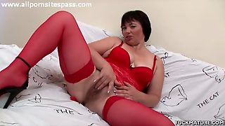 Solo Mature In Red Lingerie Rubs And Sucks