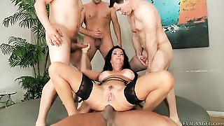 Stocking, Dp, Brunette, Group Sex, Blowjob, Riding, Big Boobs, Fake Huge Juggs, Cougar, Orgy, Sandwich