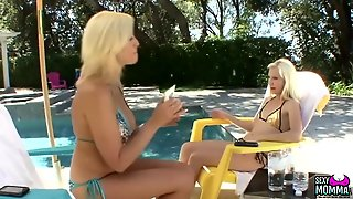 Teen In A Shiny Bikini Seduced By A Milf