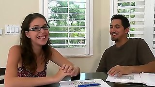 Hot Babe In Sexy Glasses Came For Her First Audition! She Looks Very Happy And Radiant! After Filling Out The Paperwork I Suggested Her To Show Something Hot! Babe Willingly Spreads Her Legs And Masturbates!