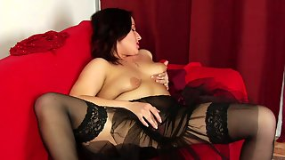Brunette In Nylon Black Stockings Is Busy With Teasing Her Own Twat