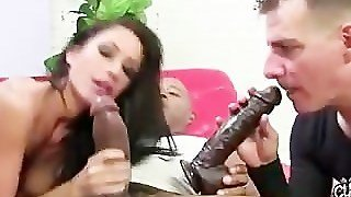 Femdom Fetish Cuckold Sucks On Dildo