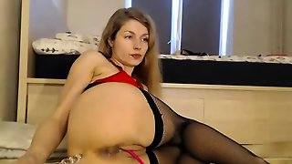 Lesbian Beauties In Stockings With A Little Anal Toying