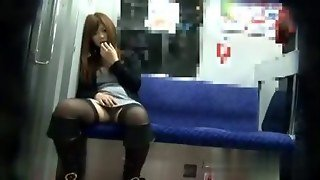 Stockings Clad Asian Amateur Flashing In Public On The Metro