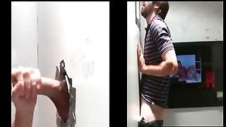 Gay Giving Hand And Blowjob On Gloryhole