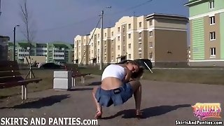 Horny Blonde Florida Flashing Her Panties In Public