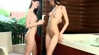 Bisexual Teens Play With A Dildo Near Hottub