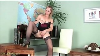High Heels And Stockings On Masturbating Blonde