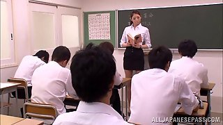 Hot Teacher From Japan Makes Her Student Fondle Her Tits