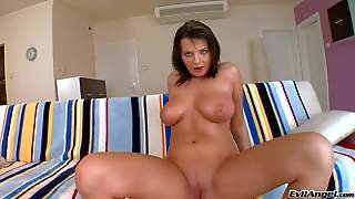 Turned On Nude Brunette Nancy With Juicy Ass Plays With