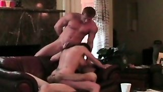 Cheating Brunette Threesome Caught On Hidden Camera