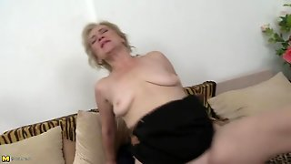 Saggy Tits Old Chick Bouncing On A Stiff Cock