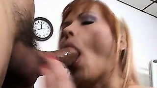 The Wild Redhead Nurse Exposes Her Huge Boobs And Gives Him An Awesome Blowjob