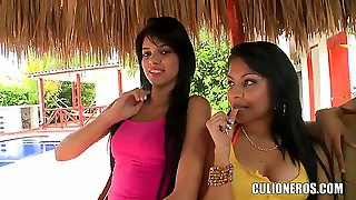 Young Looking Black Haired Amateur Sexy Sluts Daniela And Luchy With Steaming Hot Asses And Pretty Faces Tease While Walking Across The Field And Later Reveal Their Juicy Boobs.
