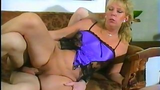 Blonde White Cougar Greedily Blowing Cock On The Couch