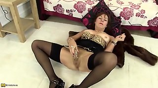 Old Lingerie Model Fucks Her Snatch With A Dildo