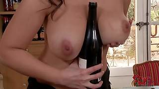 Topless Cowgirl Sirale Fucks Her Massive Natural Tits With A