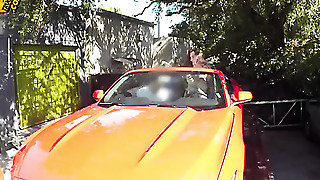 Brunette Is Getting Laid In A Car