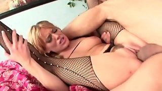 Cock In The Box Of Flexible Slut In Fishnets