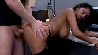 Busty, Black, Hot, Doggy, Slut, Fucking, Brunette, Pussy, Chick, Breasts, Cock