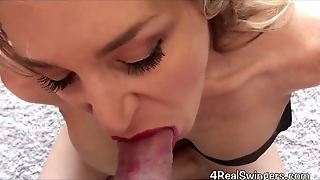 Up Close Red Lipstick Blow Job Cum Shot. Anna Miller.