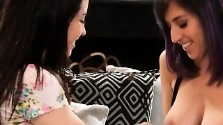 Eva Sedona And April Oneil Making Out On The Couch
