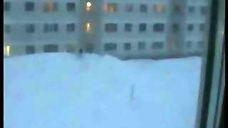 Russian Plunges Five Stories Into Massive Snow Drift  Asian Street Meat