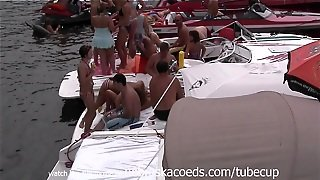 Girls In Bikinis And Topless In Public Party Cove