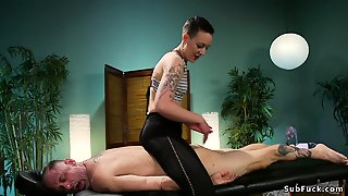 Dom Masseuse Ties Up And Anal Fucks Male