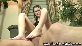 Fetish Babe Gets Feet Covered In Cum