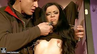 Skinny Raven Haired Girl Alice King With Small Tits And