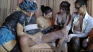 Messy Lesbian Babes With Big Tits In Nylon Stockings Masturbating Wildly In A Party