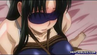 Tied Up And Blindfold Hentai Gets Handjob And Photo