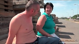 Saggy Boobs Granny Gives A Blowjob Outdoors
