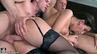 First Time Mmf Threesome For This Brunette Bombshell