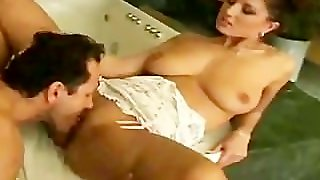 Brunette With Big Natural Tits Riding Him In The Bathroom
