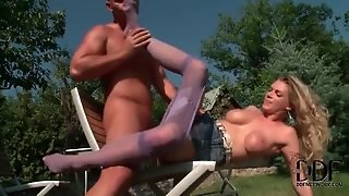 Big Tits Chick In Pantyhose Fucked Outdoors