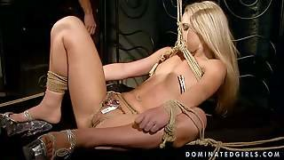 Tied Up And Lusty Blonde Slut With Nice Pale Body