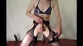 Solo Male Feminised & Busting His Balls With Strappy Heeled Shoe