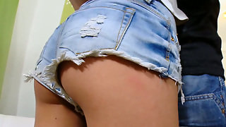 Slim Brunette Masha In Jeans Shorts Gets Her Pussy Licked