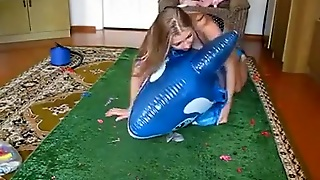 Inflating To Ride And Deflate An Inflatable Whale