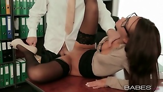 Hot Secretary In Glasses And Stockings Fucked